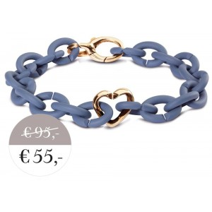 XSA004 Blue bracelet with bronze clasp  heart
