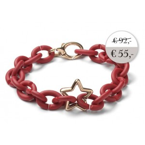 XSA010 Red bracelet with bronze clasp  star