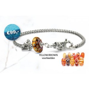 TSA18Y Trollbeads Art to Go Yellow/Brown actie armband